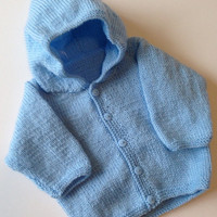 "Hand knitted Baby Boy Hoodie Cardigan - 18"" Chest approx 6 months, Hand-Knitted Baby Cardigan, Hand Knitted Baby Clothes"