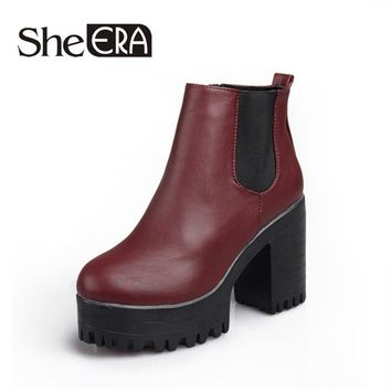 She Era Women Boots Platforms Square Heel Autumn Winter Ankle Boots Paint Leather Boots Fashion Motorcycle Boots Women Shoes
