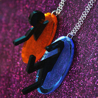 Laser cut acrylic Portal friendship necklace set