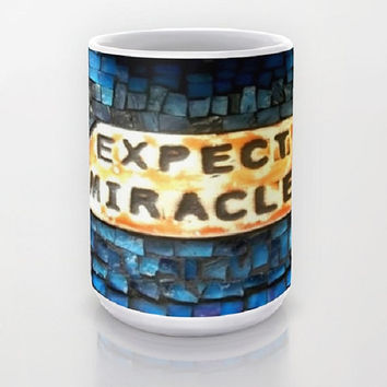 Blue, Miracles, Inspirational, Mosaic-Ceramic Mug, 2 Sizes Available-Kitchen, Bathroom, New Home/Apartment, Dorm, Gift-Made To Order-EM#43