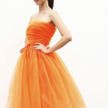 Tulle Skirt Tea length Tutu Skirt Elastic Waist tulle tutu Princess Skirt Wedding Skirt in Orange - NC508