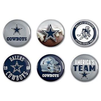 "DALLAS COWBOYS BUTTONS AMERICA'S TEAM ROWDY MASCOT EST 1960 6 PACK SET 2"" NEW"