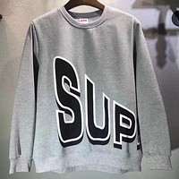 Supreme 2018 autumn new tide brand double-sided letter big logo round neck pullover sweater Grey
