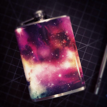 Cosmos Galaxy Space Sagan Nebula Stainless Steel Hip Flask
