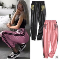 Women Casual Fashion Embroidery Pattern Stripe Webbing Leisure Pants Trousers Sweatpants