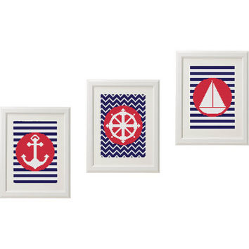 Ships wheel Sea Steering Ship Anchor Nautical Cross Stitch pattern modern Gift ideas Set of 3 Striped design baby Counted cross stitch pdf