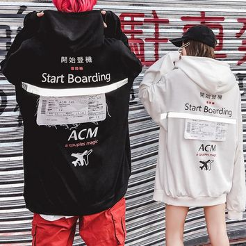 Women'ship hop hoodies in the new European and American reflective monogrammed hoodies for autumn/winter 2018