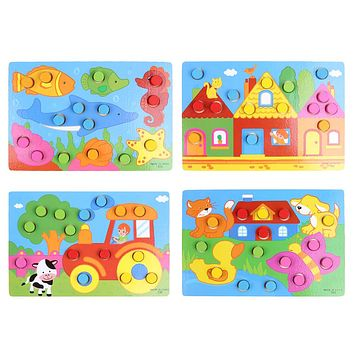 Montessori Wooden Jigsaw Board Cartoon Wood Puzzle Game Kids Early Educational Toys for Children Christmas Gift