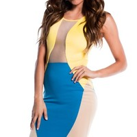 Mod Yellow Blue and Tan Cut-Out Colorblock Dress