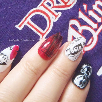 punk rock stiletto fake nails black industrial grunge heavy metal drag queen false nail almond pointy fashion chic acrylic lasoffittadiste
