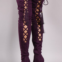 Suede Back Corset Drawstring Pointy Toe Stiletto Over-The-Knee Boots
