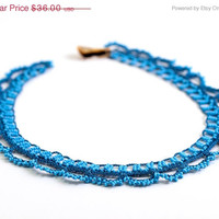 SALE Blue Crochet Lace Statement Necklace Choker Beaded Doily Boho Chic Victorian