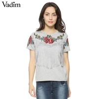 Women tassel floral print T shirt casual amazing style