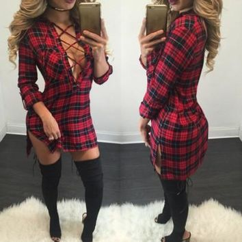 New Women Red Plaid Bandage Irregular Sides Slits Bodycon Homecoming Teens Mini Dress