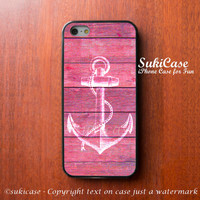 IPHONE 5S CASE White Anchor Girly Pink Wood Pattern Fashion iPhone Case iPhone 5 Case iPhone 4 Case Samsung S3 S4 Cover iPhone 5c iPhone 4s