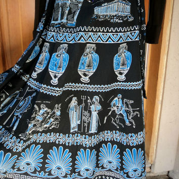 Vintage Wrap Skirt Greek Goddess' Mythology Gods Ancient Ruins Greece Hippie Skirt 32 waist