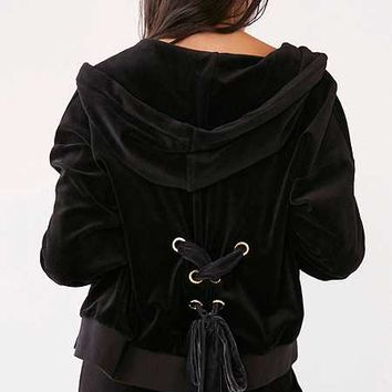 Juicy Couture Velour Lace-Back Hoodie Jacket - Urban Outfitters