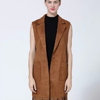 Notched Collar Suede Fringed Vest