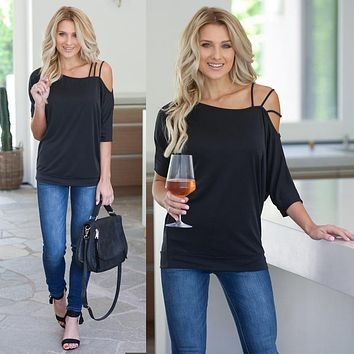 Loose Casual Short T-Shirts Women One Shoulder Off Sexy Cotton T-Shirt Short Sleeve 2019 Summer New Solid Tops Fashion Clothings