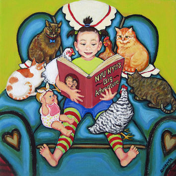 Adora Art Project - Little Girl Reading to Cats and Chickens 10x10 Original Painting - Nyu Nyus Big Adventure - Korpita ebsq