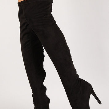 *Breckelle Vegan Suede Stiletto Over-The-Knee Boot