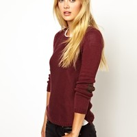 Vila Crew Neck Sweater With Elbow Patch