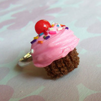 polymer clay chocolate with pink frosting polymer clay cupcake ring
