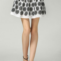 White Floral Printed Organza Skater Skirt
