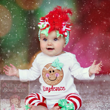 Baby Girl Christmas Outfit - Gingerbread Smiles - Over The Top bow,  bodysuit & leg war - Baby Girl Christmas Outfit - Gingerbread Smiles - Over The Top Bow,  Bodysuit & Leg Warmers - Red And Mint Green