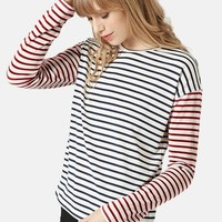 Women's Topshop Mixed Stripe Long Sleeve Top