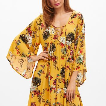 Bell Sleeve Lace Up Pleated Yellow Dress