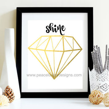 "Pop Singer Printable, ""Shine Diamond"",  Black and Gold Foil Print, 8x10,  instant download, printable art, wall print, Rhianna"