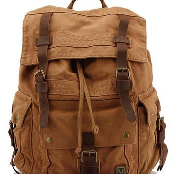 New style Men Military canvas Leather backpack