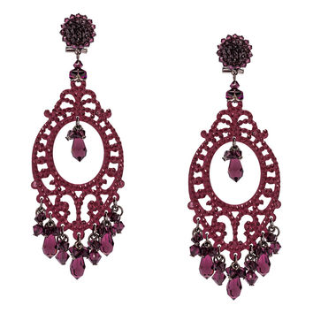 Swarovski Amethyst Crystal Pendant Earrings by DUBLOS