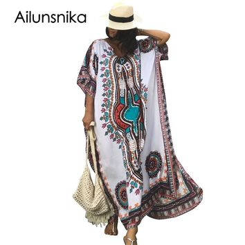 Ailunsnika Plus Size Women Summer African Ethnic Print Kaftan Maxi Dress 2018 Summer Loose Vintage