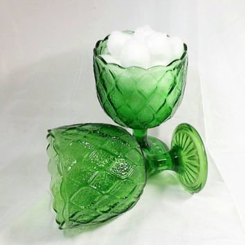 Vintage Green Glass Goblets/Tear Drop Patern Planter/Home Decorating Compote Accent/Vintage Tumblers/Candy Dish (Lot of Two)