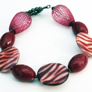 Maroon Zebra Printed Beaded Bangle Bracelet Handmade by Lindsey - Gun Metal Bar and Ring Clasp - Crimson Red