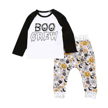 2017 Newborn baby girls clothes set Infant Baby Boy Letter Pumpkin T shirt Tops+Pants Halloween Outfits Set drop shipping