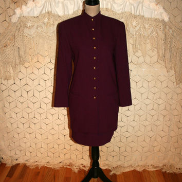 Vintage 90s Suit Women Business Suits Wool Skirt Suit Plum Purple Nehru Jacket Mandarin Collar Dana Buchman Size 4 Small Womens Clothing