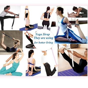 D-Ring Yoga Belt Strap Stretching Equipment Waist Leg Exercise Fitness Figure = 1931997764