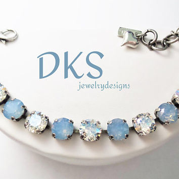 Icy Mist, Swarovski Bracelet, 8mm, Adjustable, Blue Opal, Moonlight, Choose Finish, Designer Inspired, DKSJewelrydesigns, FREE SHIPPING