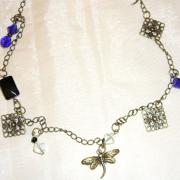 Antique Gold Necklace with Gold Accents and Glass Beads. Blue. Cobalt. Black. Clear. White. Dragonfly Jewelry. Filigree. Jewelry Sale.
