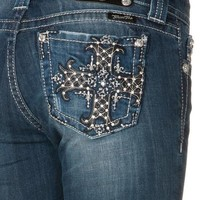 Miss Me Med 143 Victorian Black And Bling Cross Mid Rise Boot Cut Jeans