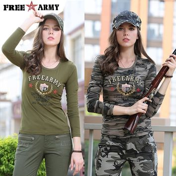 Long Sleeve tshirt Camouflage T-shirts for Women O-Neck Fashion T-shirt Military Camo Womens tee shirt Cotton Top Female Gs-8359