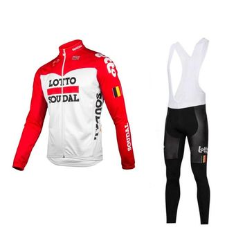 winter fleece 2018 pro team lotto red cycling jersey sets men warmer bike cloth jacket MTB Ropa Ciclismo Bicycle maillot gel pad