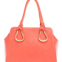 Coral Gold Embellished Faux Leather Bag | $13.99 | Cheap Trendy Top Handle Handbag Chic Discount Fas