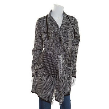 Allison Brittney Frayed Shawl Collar Patterned Cardigan