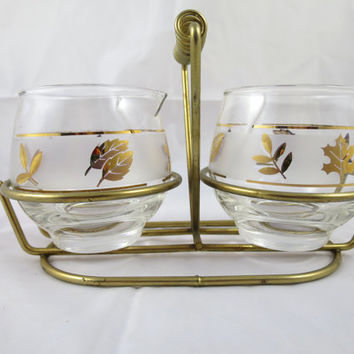 Cream Sugar Set  Libby Glassware Gold Leaves w/ Carrier 1960's  MCM Serving Caddy