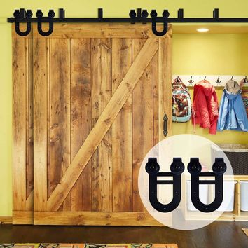 LWZH Sliding Wood Door Bypass Sliding Barn Door Hardware Kit Double Horseshoe -Shaped Track Rollers for Interior Double Door