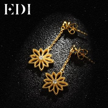 EDI Classic Real Natural Diamond H/SI Drop Earrings For Women 14k 585 Yellow Gold Star Flower Tassels Earrings Fine Jewelry